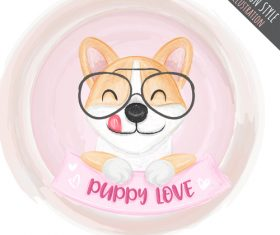 Smiling dog cartoon illustration vector