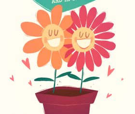 Smiling flower cartoon illustration vector