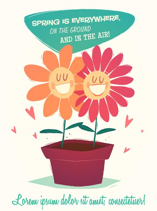 Smiling flower cartoon illustration vector