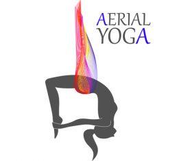 Soft Aerial yoga logo vector