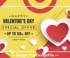 Special offer Valentines day flyer vector