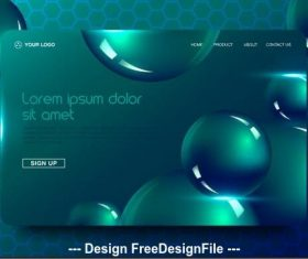 Spherical background landing page website vector design
