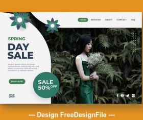 Spring day sale page template vector