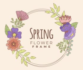 Spring flower decoration frame vector