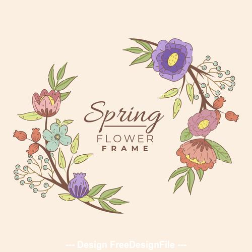 Spring flower frame vector