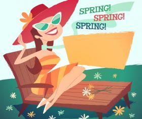 Spring outing woman vector