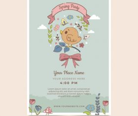 Spring party card vector