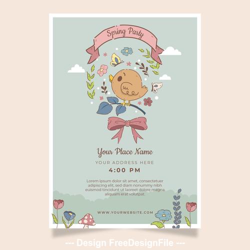 Spring party card vector