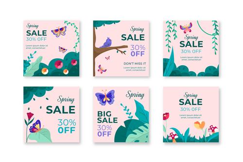 Spring sale event flyer vector