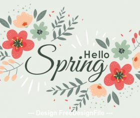Spring say hello card vector
