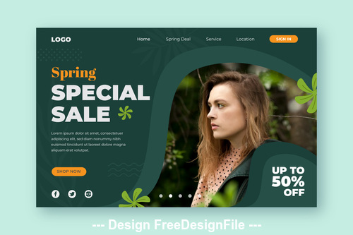 Spring special sale page template vector