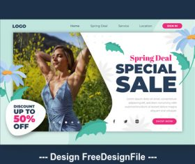 Spring super sale and page template vector
