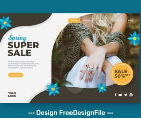 Spring super sale page template vector