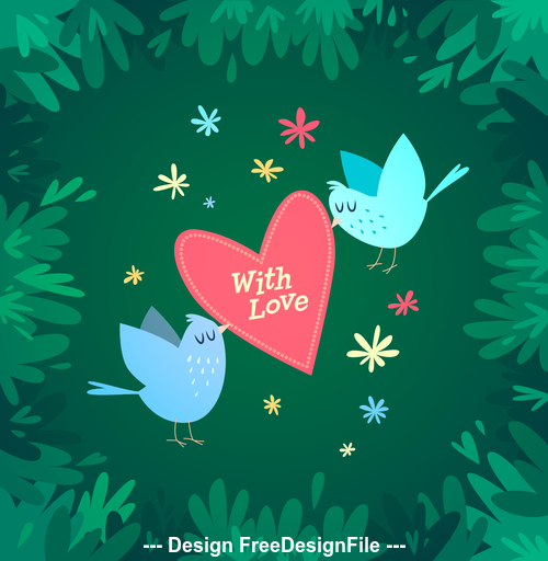 Spring with love cartoon vector