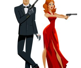 Spy couple cartoon illustration vector