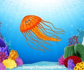 Squid cartoon illustration vector