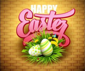 Straw mat background easter card vector