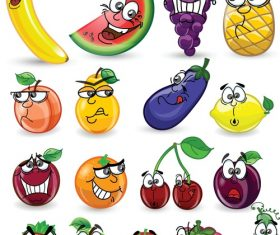 Strawberry cucumber fruit emoji cartoon icon vector
