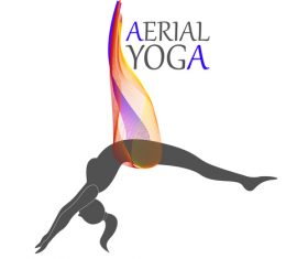 Stretching aerial yoga logo vector