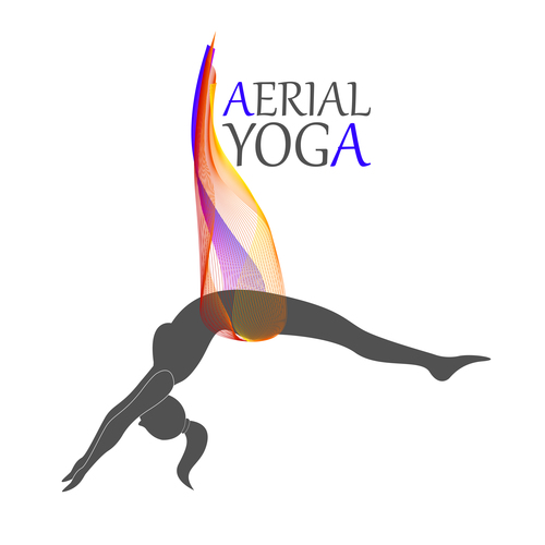 Stretching aerial yoga logo vector