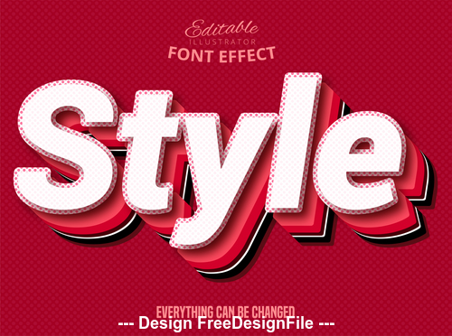 Style 3d font effect editable text vector