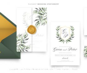 Stylish wedding invitations template vector
