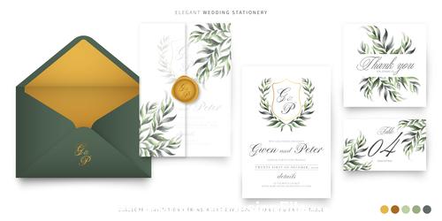 Stylish wedding invitations template vector