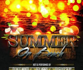 Summer on Beach Party Flyer PSD Template