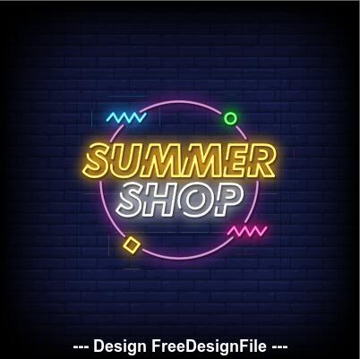 Summer shop neon signs style text vector
