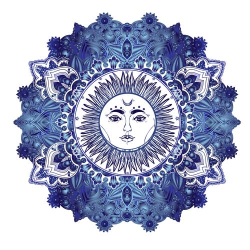 Sun hand drawn decorative pattern vector