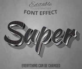 Super 3d font text effect vector