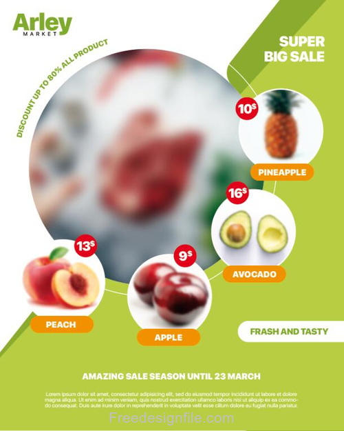 Supermarket Fruit Promotion Psd Flyer Template