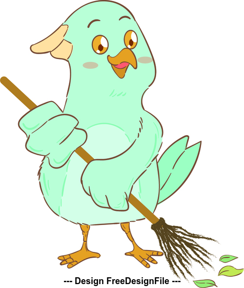 Sweeping ground bird cartoon illustration vector