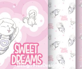 Sweet dreams cartoon background vector