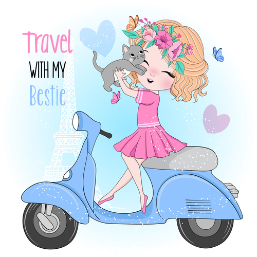 Taking a pet to travel cartoon illustration vector