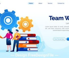 Team work cartoon illustration vector