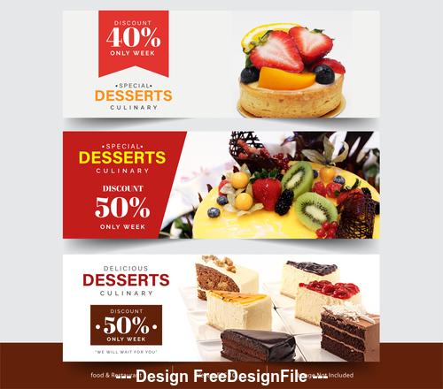 Tempting food pictures flyer vector