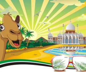 The scenery the Arab Palace on the coast vector