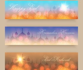 Three shiny background banners Eid mubarak vector