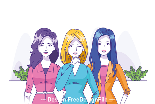 Three women cartoon illustration vector