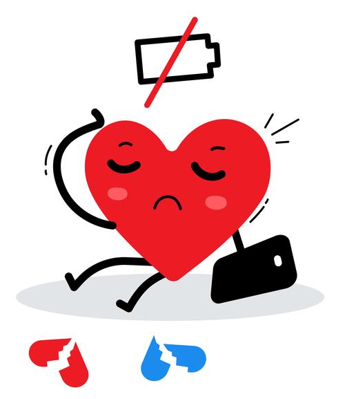 Tired hearts illustration vector