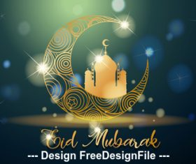 Tradition culture eid mubarak muslim background vector