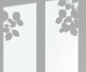 Transparent window shadow leaves effect vector