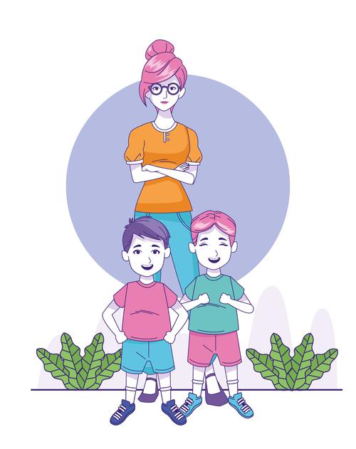 Two children and women vector