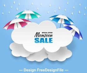 Umbrella sale flyer vector