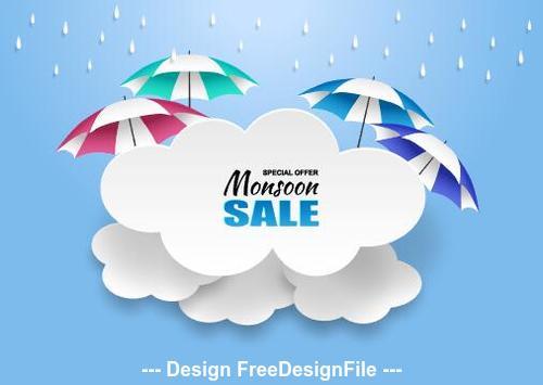 Umbrella sale flyer vector