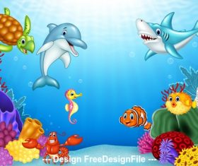 Underwater animal world cartoon illustration vector