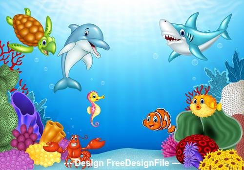 Underwater animal world cartoon illustration vector