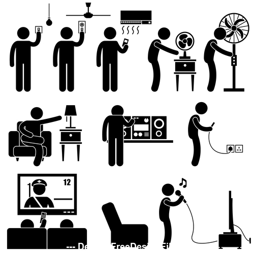 Use household appliances matchstick men vector