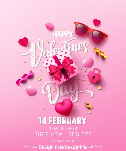 Valentine Day Sale Poster Vector Design
